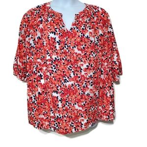 Gorgeous Lands' End Orange Peach Floral blouse